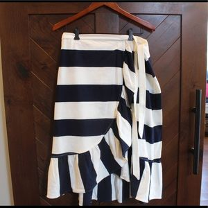 J Crew Rugby stripe knit wrap skirt, Large